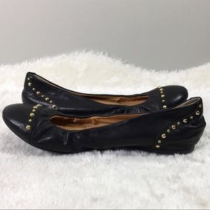 J. Crew Italy Black Leather Studded CeCe Flats 8.5